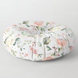 Sunny Floral Pastel Pink Watercolor Flower Pattern Floor Pillow