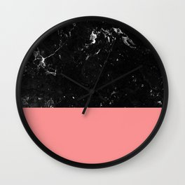 Coral Meets Black Marble #1 #decor #art #society6 Wall Clock