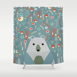 Winter pattern with baby bear Shower Curtain