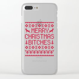Merry Christmas Bitches Funny Quote Clear iPhone Case