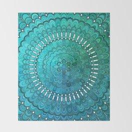 Turquoise Mandala Throw Blanket