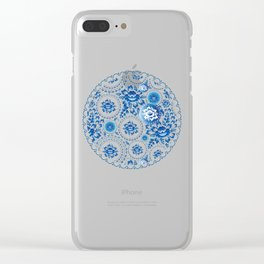 Vintage shabby Chic pattern with blue flowers and leaves Clear iPhone Case