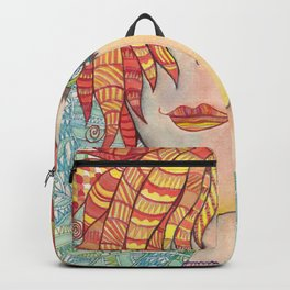 Abstract doodle portrait of young girl Backpack
