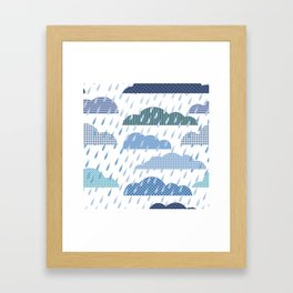 Rainy seamless pattern with clouds Framed Art Print