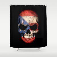 puerto rico Shower Curtains featuring Dark Skull with Flag of Puerto Rico by Jeff Bartels