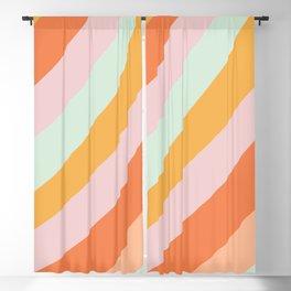 Summer Sorbet Pastel Curved Stripes Blackout Curtain