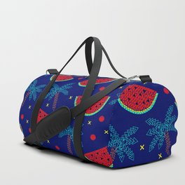 Tropical mosaic design on blue Duffle Bag
