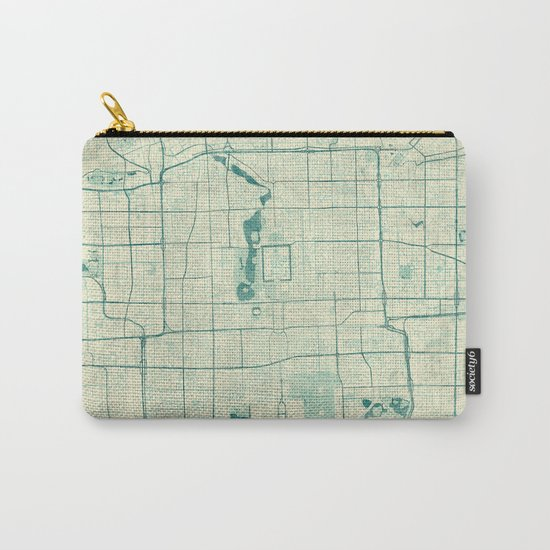 Beijing Map Blue Vintage Carry-All Pouch