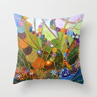 happiness Throw Pillows featuring Happiness by VargaMari