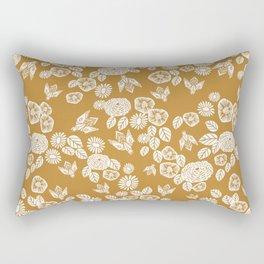 Bee Garden - linocut art, mustard, yellow, garden floral, home decor, bees, florals, flowers print Rectangular Pillow