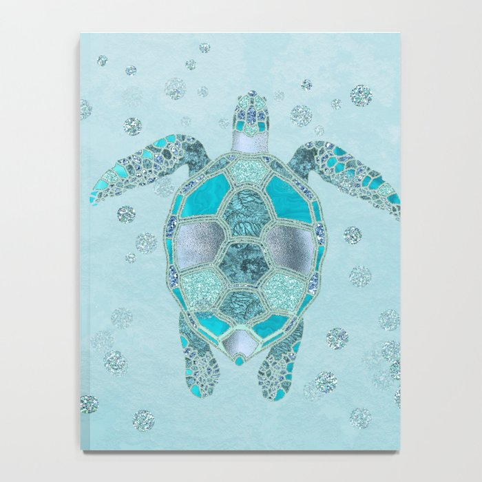 Glamour Aqua Turquoise Turtle Underwater Scenery Notebook