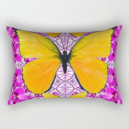 FUCHSIA COLORED  ORCHIDS &  YELLOW  BUTTERFLY FLORAL Rectangular Pillow