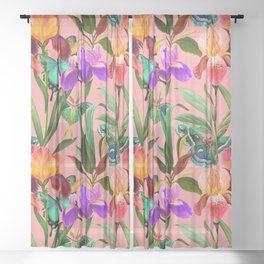 Irises and butterflies. Summer, tropical plants and moths Sheer Curtain
