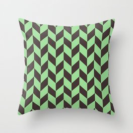 Charcoal And Green Chevron Pattern Throw Pillow