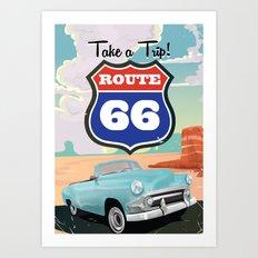 Take a Trip - Route 66 travel poster Art Print