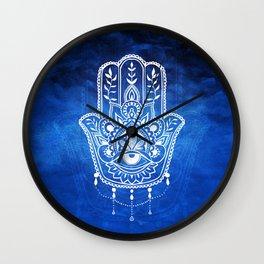 Blue Mandala Hamsa Wall Clock