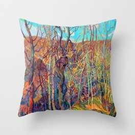 Franklin Carmichael Silvery Tangle Throw Pillow
