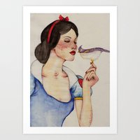snow white Art Prints featuring Snow White by The White Deer