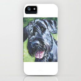 Giant Schnauzer Dog Portrait Art from an original painting by L.A.Shepard iPhone Case