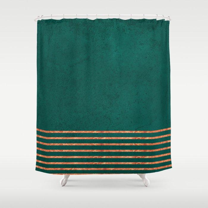 EMERALD COPPER GOLD BRASS STRIPES Shower Curtain