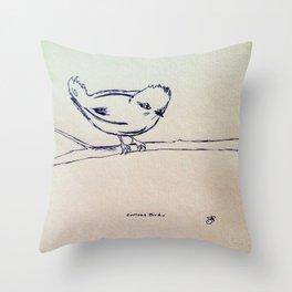 Curious Bird Ink Drawing Throw Pillow