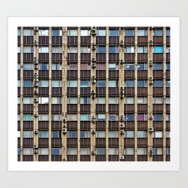 Front of the old office building, glass and concrete, windows, window blinds and air conditioners Art Print