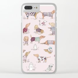 Dachshunds in Sweaters Clear iPhone Case