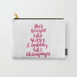 Bright and Bubbly Glitter and Champagne Carry-All Pouch