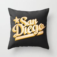 san diego Throw Pillows featuring San Diego by GetSolidGold