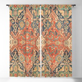 Geometric Leaves VII // 18th Century Distressed Red Blue Green Colorful Ornate Accent Rug Pattern Blackout Curtain
