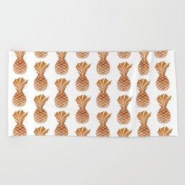 Copper Pineapple Pattern Beach Towel
