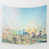 santa monica Wall Tapestries featuring Santa Monica by SoCal Chic Photography