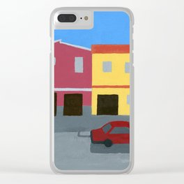 Houses and Red Car in Guatemala Clear iPhone Case