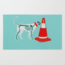 DOG SNIFING TRAFFIC RUBBER CONE Rug