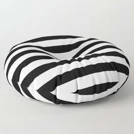 Midnight Black and White Stripes Floor Pillow