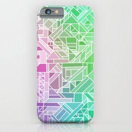 Bright Gradient (Violet Purple Lime Green Neon Yellow) Geometric Pattern Print iPhone Case