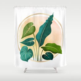 Opening Act / tropical greenery with metallic accent Shower Curtain