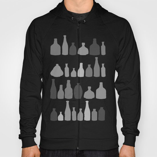 Bottles Black and White on Black Hoody