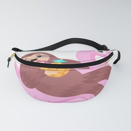 Sloth Relaxing on a Pink Flamingo Pool Float Graphic print Fanny Pack
