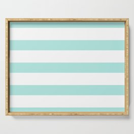 Aqua blue and White stripes lines - horizontal Serving Tray