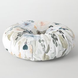 Loose Blue and Peach Floral Watercolor Bouquet  Floor Pillow