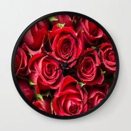 Romantic fresh bright fragrant bloomings roses rose flower  Wall Clock