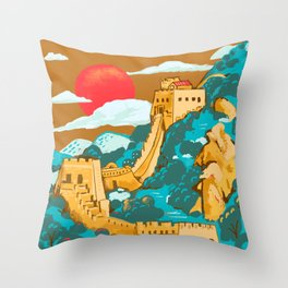 Great Wall of China by Cindy Rose Studio Throw Pillow