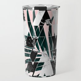 Modern geometric triangles black white abstract marble pattern palm tree leaf pink ombre Travel Mug