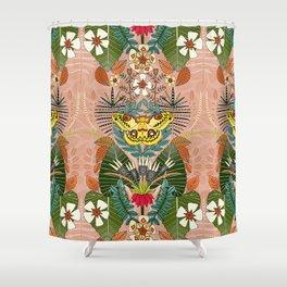 tropical moth paradise peach Shower Curtain