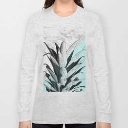 Pineapple Top Marble Pastel Blue Long Sleeve T-shirt