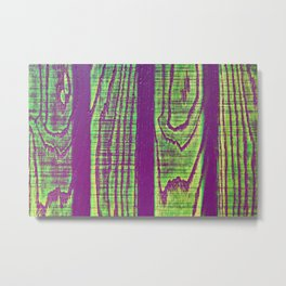 Abstract wooden texture colored violet green Metal Print