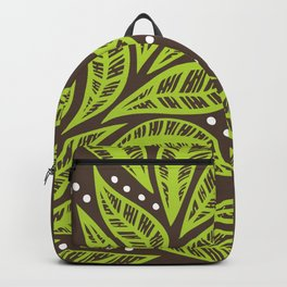 Floral tropical green leaves on brown background Backpack