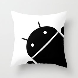 Small black Android robot Throw Pillow