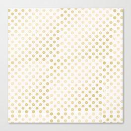 Vintage rustic faux gold white elegant polka dots pattern Canvas Print